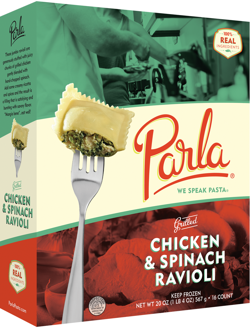 parla Chicken & Spinach Ravioli product packaging