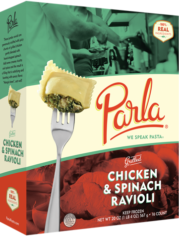 Parla Pasta Grilled Chicken & Spinach Ravioli package