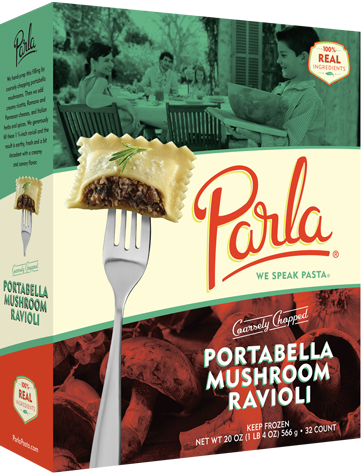 Parla Pasta Coarsely Chopped Portabella Mushroom Ravioli package