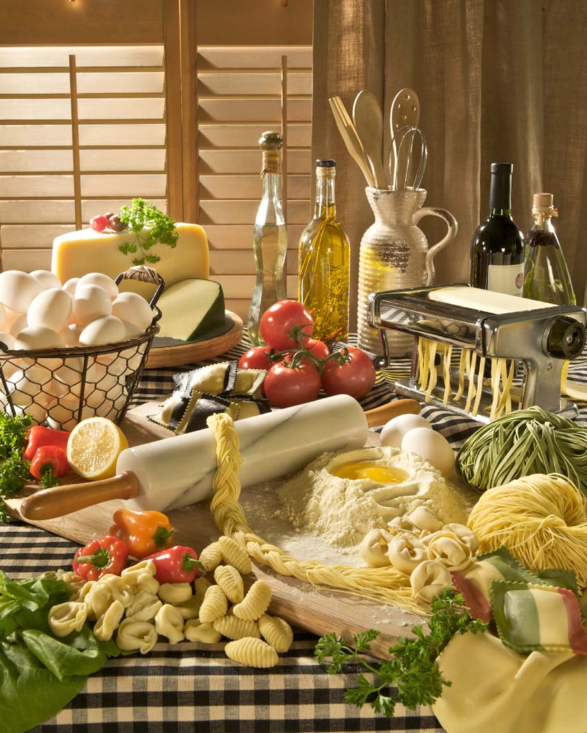 Group shot of Parla Pasta's authentic Italian ingredients