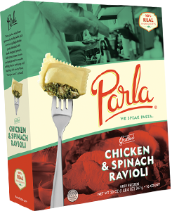 Parla Pasta Chicken & Spinach Ravioli package